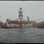 One of a sequence of rare shots of North Carr on station off the Fife Coast
